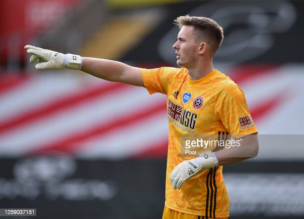 Goalkeeper Dean Henderson of Sheffield United during the Premier League match between Southampton FC and Sheffield United at St Mary's Stadium on...