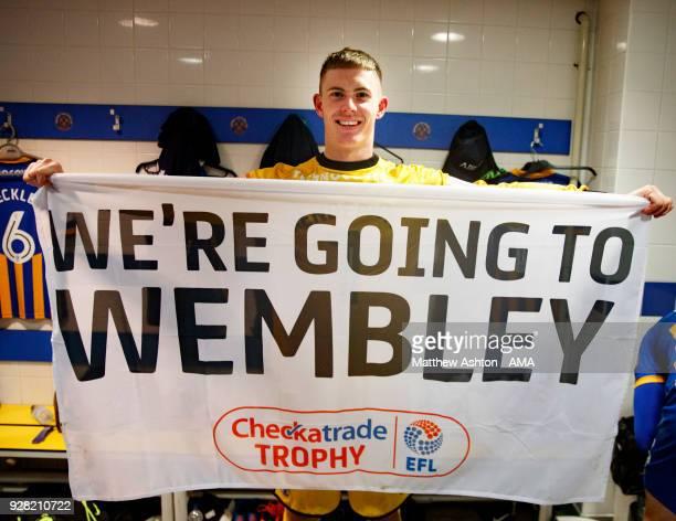 Goalkeeper Dean Henderson of Shrewsbury Town celebrates victory reaching the final at the Checkatrade Trophy Semi Final between Shrewsbury Town and...