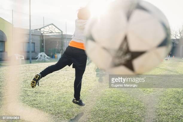 Goalkeeper defending goal