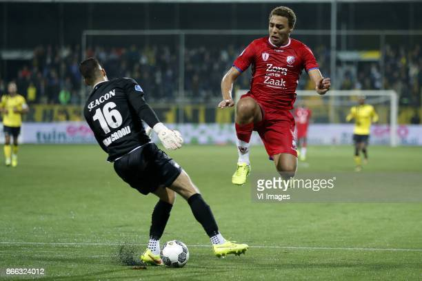 goalkeeper Delano van Crooij of VVV Venlo Cyriel Dessers of FC Utrecht during the Second Round Dutch Cup match between VVVVenlo and FC Utrecht at...