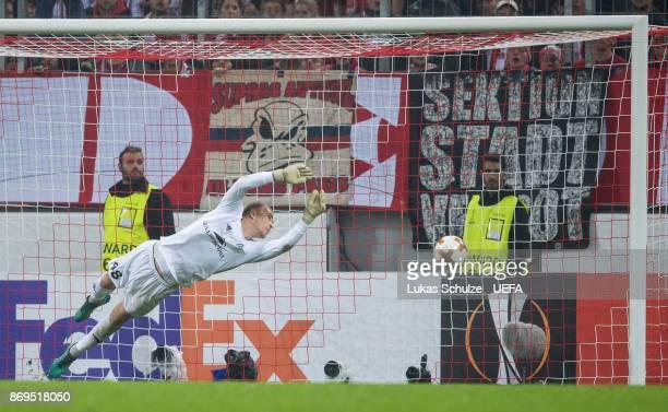 Goalkeeper Denis Scherbitski of Borisov gets the third goal of Koeln during the UEFA Europa League group H match between 1 FC Koeln and BATE Borisov...