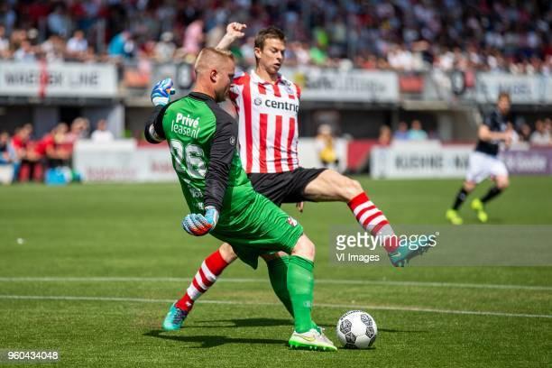 goalkeeper Dennis Telgenkamp of FC Emmen Robert Muhren of Sparta Rotterdam during the Dutch Jupiler League playoffs final match between Sparta...