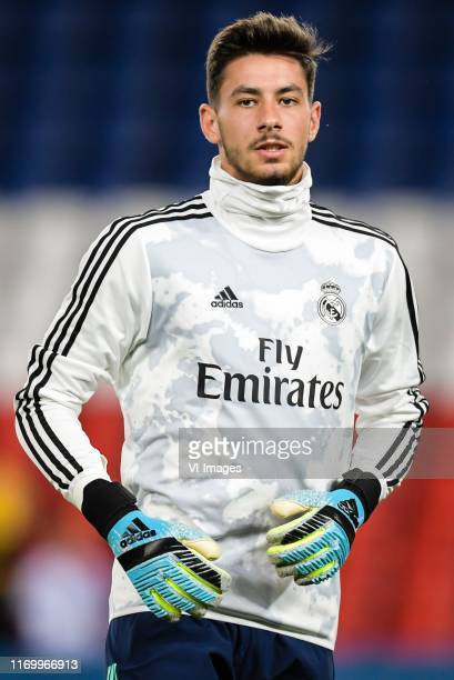 goalkeeper Diego Altube of Real Madrid during the UEFA Champions League group A match between Paris St Germain and Real Madrid at at the Parc des...