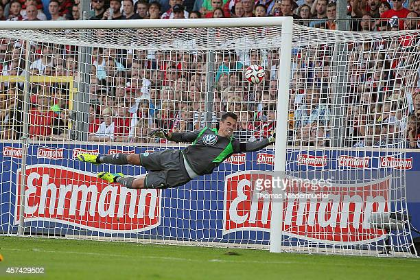 Goalkeeper Diego Benaglio fails to catch the ball during the Bundesliga match between SC Freiburg and VfL Wolfsburg at MAGE SOLAR Stadium on October...