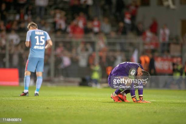 May 11: Goalkeeper Diego Benaglio of Monaco and Adrien Silva of Monaco after their sides loss during the Nimes V Monaco, French Ligue 1, regular...