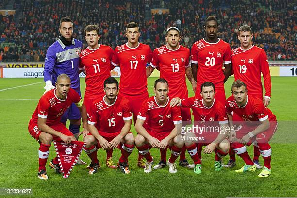 goalkeeper Diego Benaglio of SwissAdmir Mehmedi of SwissGranit Xhaka of SwissRicardo Rodriguez of SwissJohan Djourou of SwissFabian Frei of Swiss...