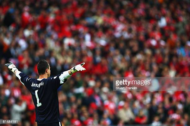 Goalkeeper Diego Benaglio of Switzerland gestures during the UEFA EURO 2008 Group A match between Switzerland and Czech Republic at St. Jakob-Park on...