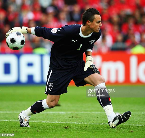 Goalkeeper Diego Benaglio of Switzerland in action during the UEFA EURO 2008 Group A match between Switzerland and Czech Republic at St. Jakob-Park...