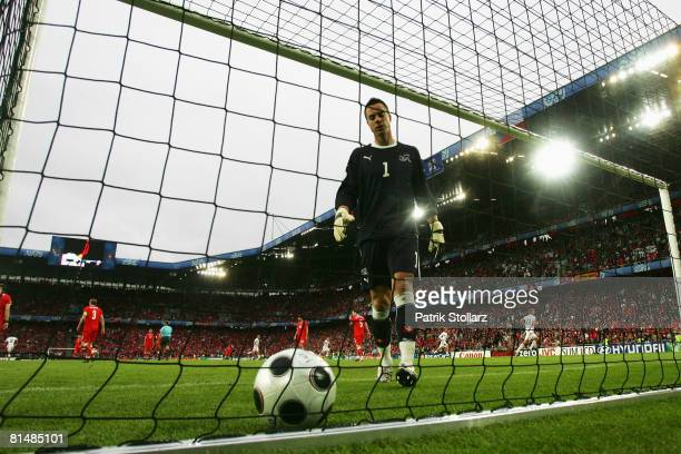 Goalkeeper Diego Benaglio of Switzerland looks dejected after receiving the opening goal during the Euro 2008 Group A match between Switzerland and...