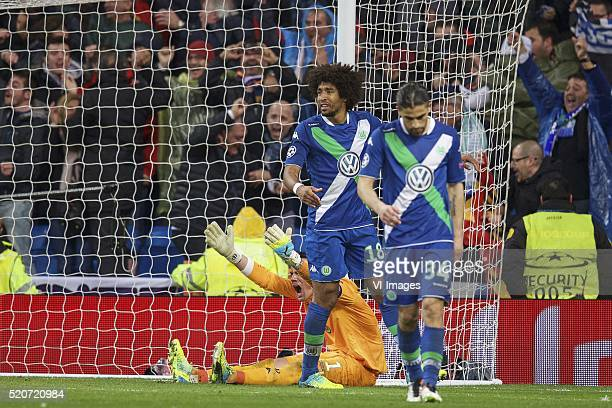 goalkeeper Diego Benaglio of Vfl Wolfsburg Dante of Vfl Wolfsburg Ricardo Rodriguez of Vfl Wolfsburg during the UEFA Champions League quarterfinal...