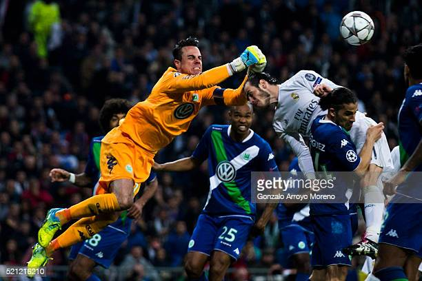 Goalkeeper Diego Benaglio of VfL Wolfsburg stops the ball headed by Gareth Bale of Real Madrid CF during the UEFA Champions League quarter final...