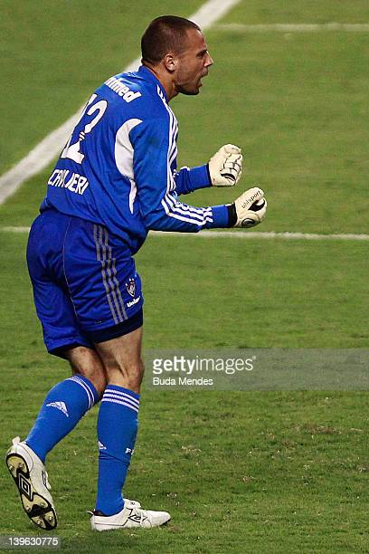 Goalkeeper Diego Cavalieri of Fluminense celebrates after defense a penalty againist Botafogo during the semifinal match as part of Rio State...