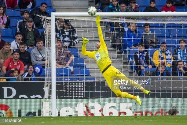 Goalkeeper Diego Lopez of Espanyol makes a fine save late in the first half during the Espanyol V Osasuna La Liga regular season match at RCDE...