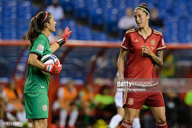 Goalkeeper Dinnia Diaz of Costa Rica has a few words with Jennifer Hermoso of Spain during the 2015 FIFA Women's World Cup Group E match at Olympic...