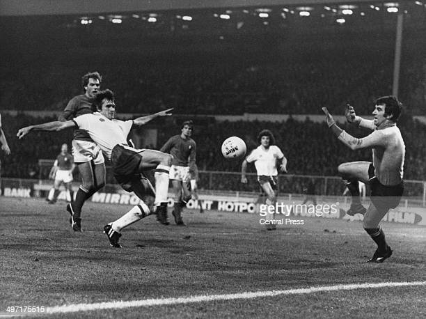 Goalkeeper Dino Zoff about to save a shot from Dave Watson during England vs Italy in a World Cup qualifying match at Wembley Stadium 17th November...