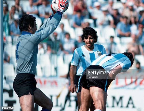Goalkeeper Dino Zoff of Italy and Diego Maradona of Argentina in action during the World Cup match between Italy and Argentina on June 29 1982 in...
