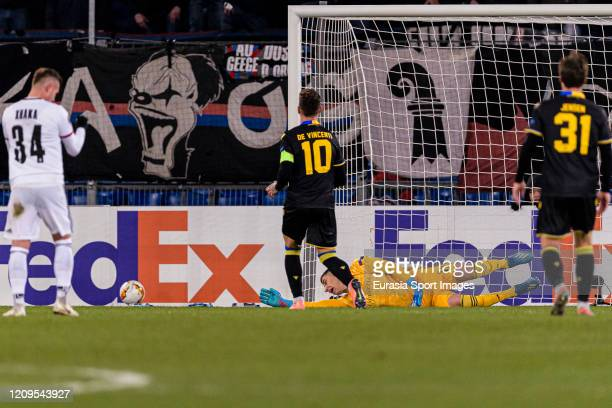 Goalkeeper Djordje Nikolic of Basel in action during the UEFA Europa League round of 32 second leg match between FC Basel and APOEL Nikosia at St...