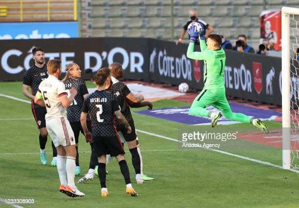 Goalkeeper Dominik Livakovic of Croatia in action during a friendly match between Belgium and Croatia at King Baudouin Stadium in Brussels, Belgium...