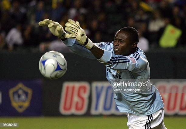 Goalkeeper Donovan Rickets of the Los Angeles Galaxy makes a save during the MLS Western Conference Championship match against the Houston Dynamo at...