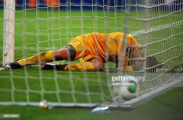 Goalkeeper Doris Bacic of Croatia reacts during the FIFA Women's Worldcup 2015 Qualifier match between Germany and Croatia at Volksbank Stadion on...