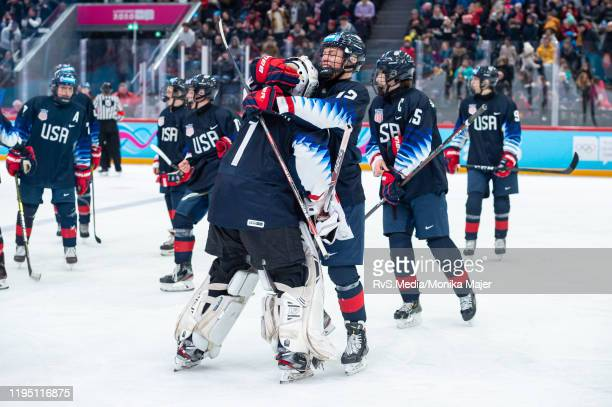 Goalkeeper Dylan Silverstein of United States and Rutger McGroarty of United States celebrate their win after Men's 6Team Tournament Semifinals Game...