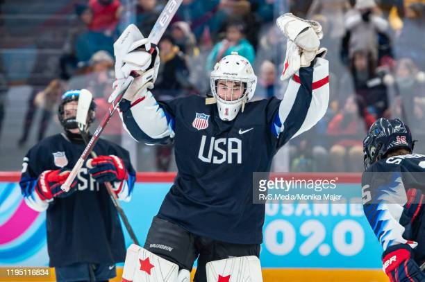 Goalkeeper Dylan Silverstein of United States celebrates his win after Men's 6Team Tournament Semifinals Game between United States and Canada of the...