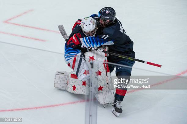 Goalkeeper Dylan Silverstein of United States celebrates the win with his teammate after Men's 6Team Tournament Semifinals Game between United States...