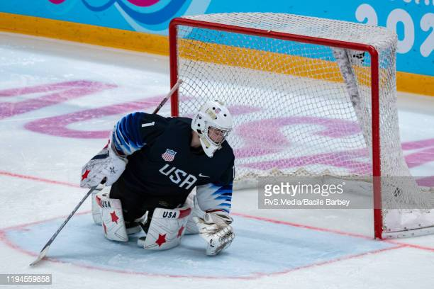 Goalkeeper Dylan Silverstein of United States concedes a goal during Men's 6Team Tournament Preliminary Round Group A Game between United States and...