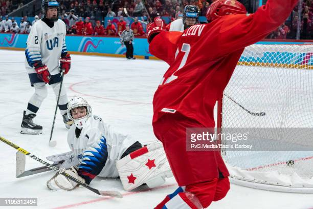 Goalkeeper Dylan Silverstein of United States concedes a goal during Men's 6Team Tournament Gold Medal Game between Russia and United States of the...