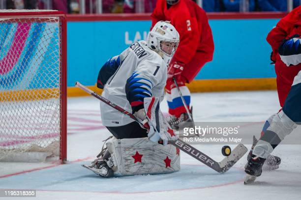 Goalkeeper Dylan Silverstein of United States in action during Men's 6Team Tournament Gold Medal Game between Russia and United States of the...
