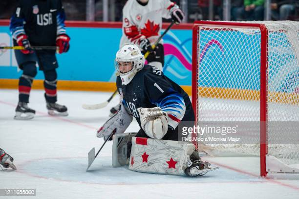 Goalkeeper Dylan Silverstein of United States in action during Men's 6Team Tournament Semifinals Game between United States and Canada of the...