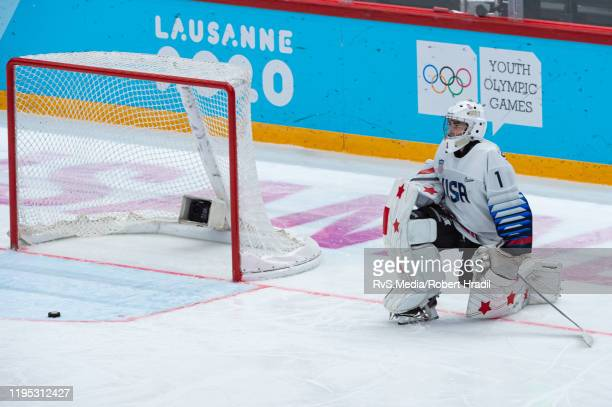 Goalkeeper Dylan Silverstein of United States looks dejected after conceding a goal during Men's 6Team Tournament Bronze Medal Game between Canada...