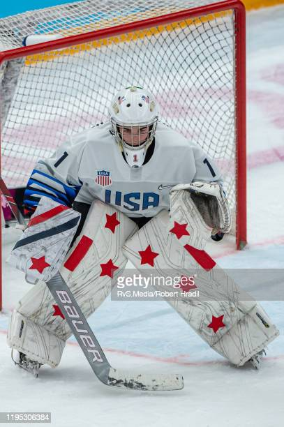 Goalkeeper Dylan Silverstein of United States looks on during Men's 6Team Tournament Bronze Medal Game between Canada and Finland of the Lausanne...