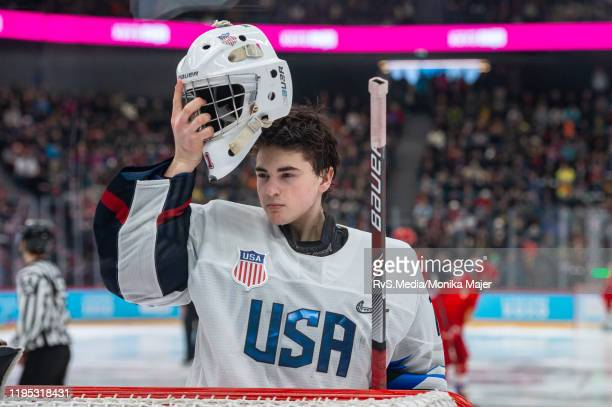 Goalkeeper Dylan Silverstein of United States looks on during Men's 6Team Tournament Gold Medal Game between Russia and United States of the Lausanne...