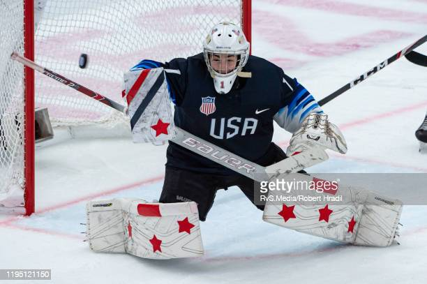 Goalkeeper Dylan Silverstein of United States makes a glove save during Men's 6Team Tournament Semifinals Game between United States and Canada of...