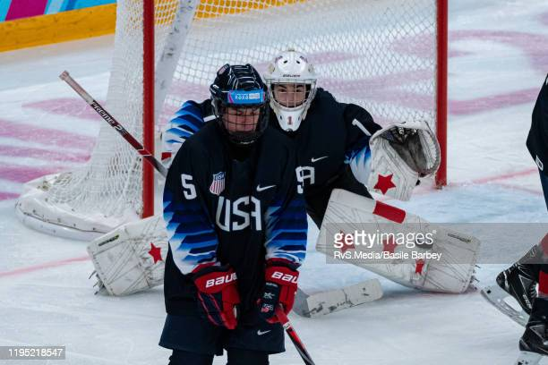 Goalkeeper Dylan Silverstein of United States makes a save during Men's 6Team Tournament Semifinals Game between United States and Canada of the...