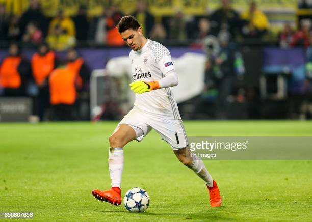 Goalkeeper Ederson of Benfica controls the ball during the UEFA Champions League Round of 16 Second Leg match between Borussia Dortmund and SL...