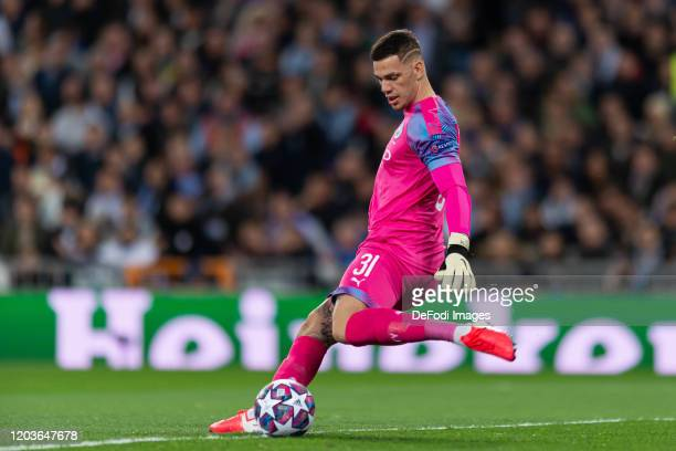 goalkeeper Ederson of Manchester City controls the ball during the UEFA Champions League round of 16 first leg match between Real Madrid and...