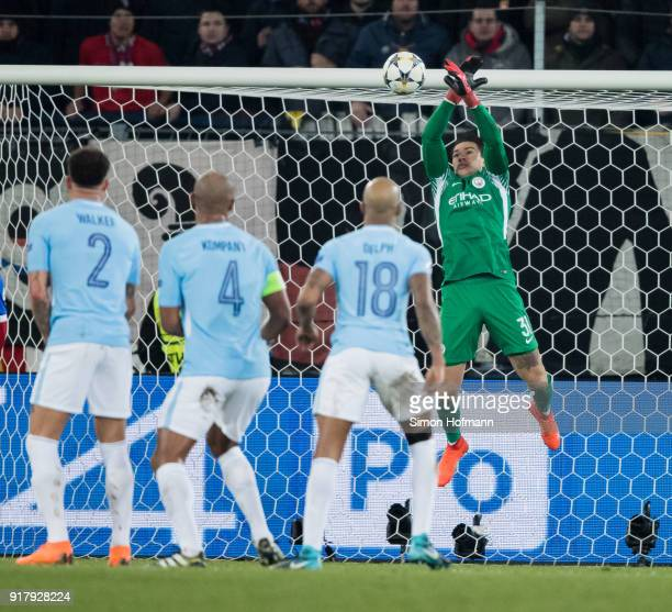 Goalkeeper Ederson of Manchester City tries to save a free kick during the UEFA Champions League Round of 16 First Leg match between FC Basel and...