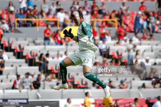 Goalkeeper Edgar Hernandez of Atlas celebrates the second goal of his team during the 17th round match between Atlas and Monterrey as part of the...