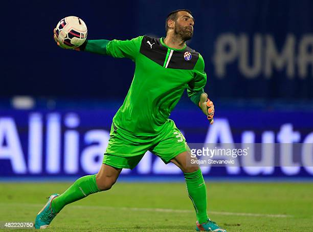Goalkeeper Eduardo of FC Dinamo Zagreb in action during the UEFA Champions League Third Qualifying Round 1st Leg match between FC Dinamo Zagreb and...