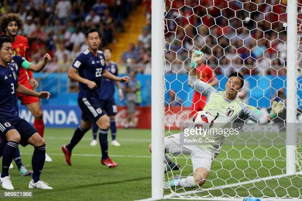 Goalkeeper Eiji Kawashima of Japan is beaten by a header from Jan Vertonghen of Belgium for Belgium's opening goal during the 2018 FIFA World Cup...