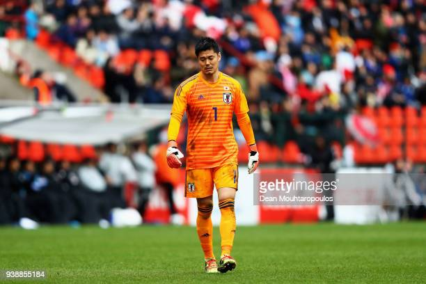 Goalkeeper Eiji Kawashima of Japan looks on during the International friendly match between Japan and Ukraine held at Stade Maurice Dufrasne on March...