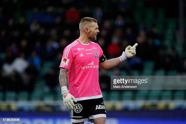Goalkeeper Emil Hedvall of Gefle IF during the Allsvenskan match between GIF Sundsvall and Gefle IF at Norrporten Arena on April 7 2016 in Sundsvall...