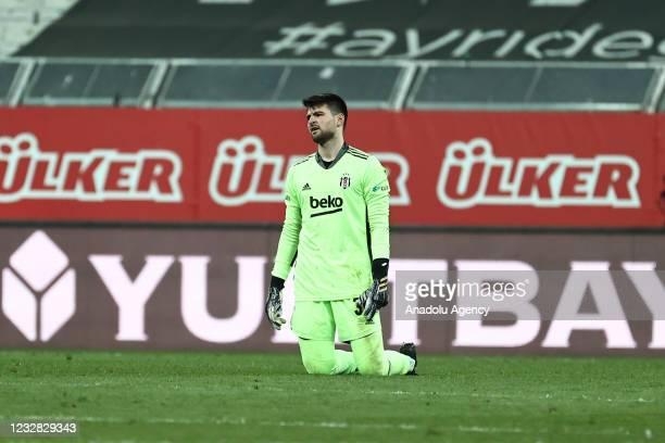 Goalkeeper Ersin Destanoglu of Besiktas gestures at the end of Turkish Super Lig week 41 soccer match between Besiktas and Fatih Karagumruk at...