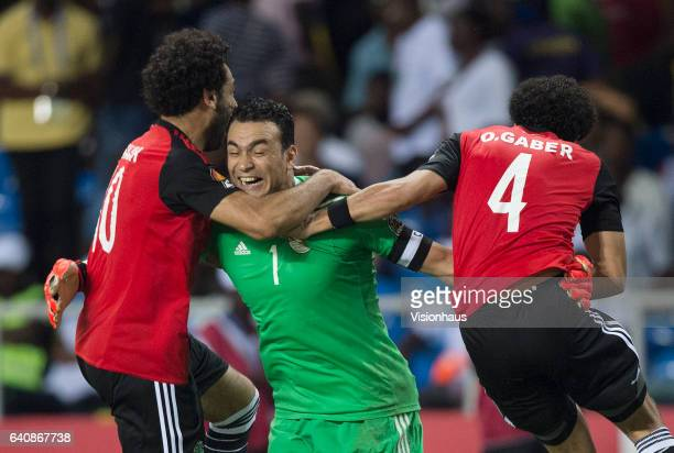 Goalkeeper ESSAM KAMAL TAWFIK ELHADARY of Egypt celebrates winning the match with MOHAMED SALAH and OMAR MAHMOUD SAYED GABER during the semifinal...