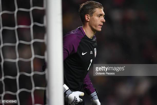 Goalkeeper Ethan Horvath of USA in action during the International Friendly match between Portugal and USA at Estadio Municipal Leiria on November 14...