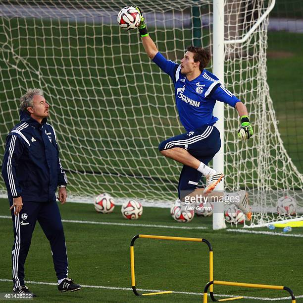 Goalkeeper Fabian Giefer catches the ball during day 7 of the FC Schalke 04 training camp at the ASPIRE Academy for Sports Excellence on January 12,...