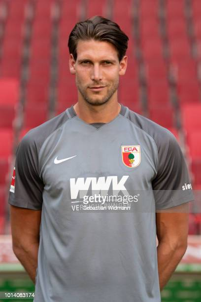 Goalkeeper Fabian Giefer of FC Augsburg poses during the team presentation at WWK Arena on August 9, 2018 in Augsburg, Germany.