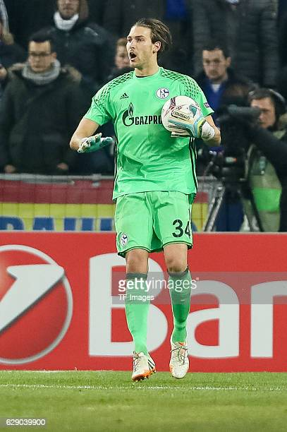 Goalkeeper Fabian Giefer of Schalke gestures during the UEFA Europa League match between FC Salzburg and FC Schalke 04 at Red Bull Arena in Salzburg,...